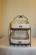 Longaberger Combo - Wrought Iron Paper Tray Stand & Basket Sets -  NEW