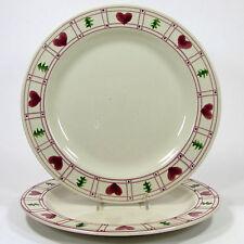 "Hartstone Pottery HEARTS & TREES 11"" Dinner Plate Set 2Pc Holiday Christmas Pine"