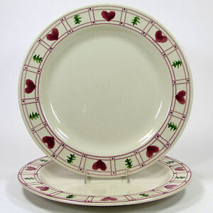 "Hartstone Pottery HEARTS & TREES 11"" Dinner Plate Set 2Pc Holiday Christmas Pine"