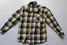 Boys Gray Black Yellow White Plaid Button Up Front Shirt SIZE 7X Long Sleeve