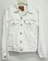 New Levis Womens White Button Up Jean 100% Cotton Denim Trucker Jacket XS