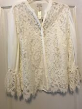 NWT Chico's Sz 16P (3) Women Ecru Lace Ruffle Top W/ Cami & L/S & Button Front!