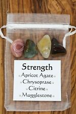 Strength Crystal Gift Set Apricot Agate Chrysoprase Citrine Mugglestone Courage