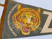 "26"" Felt Pennant Souvenir Flag Chicago Zoological Society Brookfield IL Vintage"