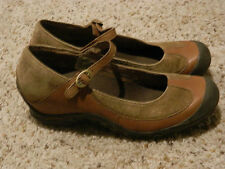 Merrell Plaza Mary Jane Flat Shoe Tan Brown Leather Size 8 1/2