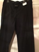 black LINEN Blend Straight Wide Casual Drawstring TROUSERS UK size 10 new.