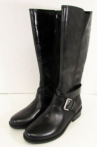 Me Too Womens Darcey Leather Riding Boot Shoes, Black Calf, US 8.5