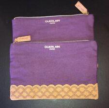 GUERLAIN Purple Canvas Wave Crest Design Cosmetic Bag Pouch NEW