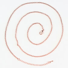 """Silver Antique Brass Rose Gold 2mm Thin Circle Chain Necklace 20"""" Adjustable"""