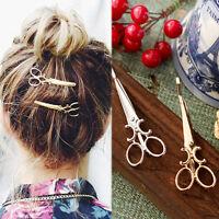 2Pcs Chic Scissors Shape Hair Clip Gold/Silver Hair Pin Women Hair Accessory W8