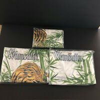 Vintage 1970s Wamsutta Ultrascale Tiger in a Bamboo Groove Twin Sheet Set NEW