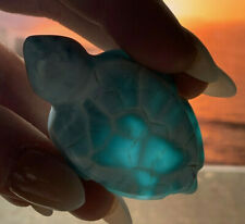 GORGEOUS AAA+ GRADE LARIMAR SEA TURTLE CRYSTAL CARVING DOMINICAN REPUBLIC