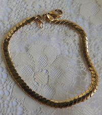 """Vintage Classic Gold Plated Snake Chain Bracelet 8"""""""