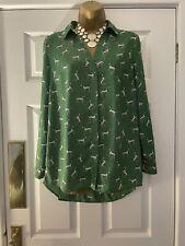 TU Women Dalmation Print Green Blouse Shirt Dog Print Size 8