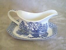 """ROYAL STAFFORDSHIRE.. J&G MEAKIN """"WILLOW"""" IRONSTONE GRAVY BOAT AND DRIP TRAY"""