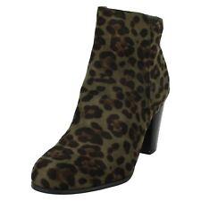 Spot on Ladies Microfibre Ankle Boots F5R0962 Khaki Leopard (LBR) J&K