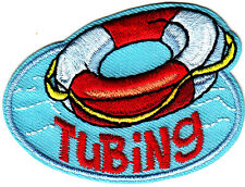 """""""TUBING"""" w/Innertube- Iron On Embroidered Patch - Swimming, Sports, Words"""