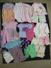 Lot Of 18 Baby Size 12 Month Girls Pajamas Sweaters Tops Pants Sets Stocking Cap