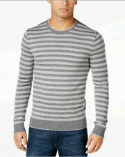 Micheal Kors Men's Sweater Gray Striped Long Sleeve Thin Knit Size Large