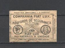 "Made in Brasil ""Fosforos"" Companhia Fiat Lux Old Vintage Matchbox Label"