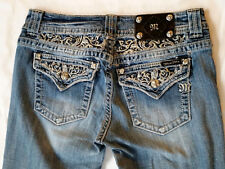 Miss Me Buckle Crystal Lace Jewel Pocket Easy Boot Denim Jeans 27 x 31