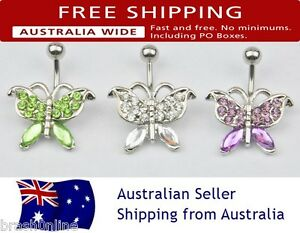 14G Butterfly Belly Bar Ring 316 Surgical Steel Rhinestone Gem Bling Curved