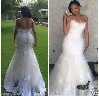 Elegant Mermaid Lace Wedding Dress Custom Plus Size Bridal Gown 16 18 20 22 24++