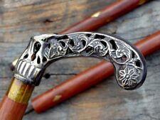 Brass Beautiful Solid Handle Head Vintage Cane Shaft Walking Stick Handmade