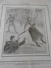 Caricature 1891 Police des Moeurs le pittoresque Lasso sur délinquantes
