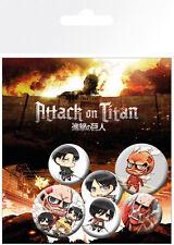 Anstecker-paket Attack On Titan Chibi Characters Badge Pack Bp0615