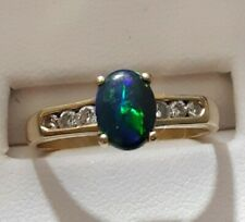 Opal Ring.Free 3 Day Priority Shipping. Womans 18 K & Natural Black