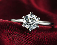 1.5 Round Cut Diamond Engagement Ring Enhanced SI1/D 14K White Gold Enhanced