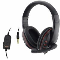 Wired Headphone 3.5mm Gaming Headset Headphone Music Microphone For PS4 Game PC