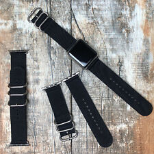 For Apple Watch Series 5 4 3 42mm 44mm Black Nylon Strap Band Silver Buckle