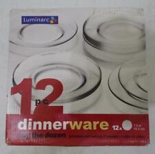 """NIB SET OF 12 LUMINARC CLEAR GLASS 7.5"""" SAUCERS PLATES"""