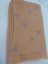 Couvre lit ancien flocage floral Vintage 40s orange & gris