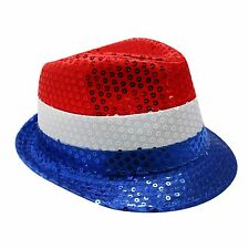 Deluxe Tricolour French Nation Flag Sequin Trilby Hat - Bastille Day, France