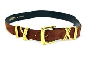 """ESCADA Vintage BROWN SUEDE BELT Leather GOLD BUCKLE Belt Loops 38"""" Adjustable"""