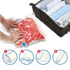 Clothes Compression Storage Hand Rolling Plastic Packing Travel Space Saver Bag!