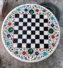 2' Chess Marble Table Top Pietra Dura Inlay Children Play Pietra Dura u3