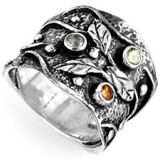 925 Sterling Silver Leaf Nature Ring Multi Stones Womens Wide Band Size 6