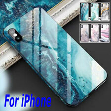 Abstract Marble Slim Tempered Glass Cover Case For iPhone 11 Pro Max XR 8 7 SE2