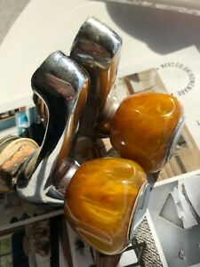 Rare Beautiful Pair of Antique Kitchen/Bath Taps With Bakelite Amber Heads