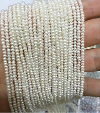 One strands 2x4mm White pearl real natural freshwater Pearl Loose Bead 35cm 14''
