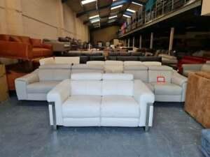 Moreno light cream /sneaker white/ leather standard 2 seater sofa