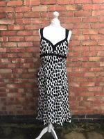Jaeger Black Polka Dot 100% Silk Long Dress Size 12 B11