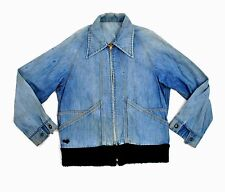 Lee Jean Ricky Jacket 1940's 50's vtg Talon Zipper Med Small Light Blue Denim