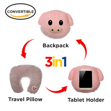 3in1 Pig  Emoji Pillow Travel Neck Pillow  Holder Backpack Convertable Emojis