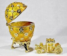2.5'' EASTER ENAMELED EGG TRINKET BOX CORONATION RUSSIAN TRADITIONS OF FABERGE