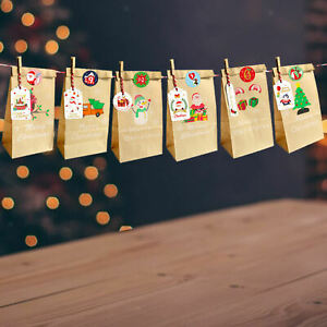Gift Bags Santa with Xmas Stickers Packing Pouch for Birthday Cookie Holiday